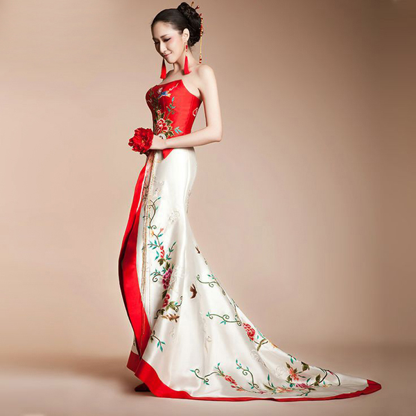 asian-inspired-red-and-white-floral-birds-embroidered-long-halter-bridal-wedding-bridal-dress